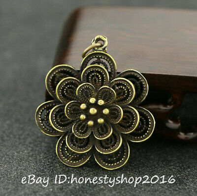 Old China Bronze Copper Carving Hollow Out Flower Lucky Pendant Amulet Necklace