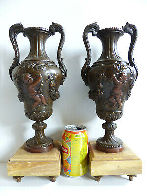 SUPERB PAIR OF LARGE ANTIQUE FRENCH PATINED SPELTER VASES URNS w. CHERUBS 1890's