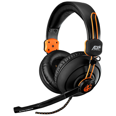 ADX Firestorm A01 Gaming Headset - Black & Orange PC MAC PS4 Wired Over Head Mic