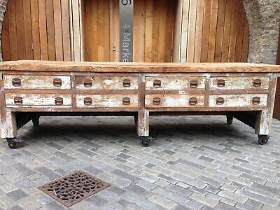 Beautiful Antique Industrial Vintage Kitchen Table, Refectory, Factory, Shop