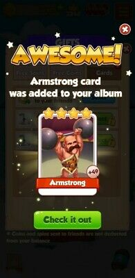 5 X Armstrong Coin Master Cards. Fast Delivery 100% Customer Satisfaction