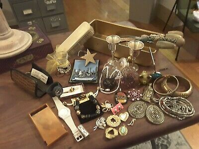 Vintage lot of collectables costume jewellery, vases, ring holder & others