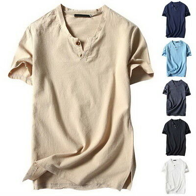 Men Casual V-neck Cotton Linen Basic Blouse Tops Tee T-shirt Summer Henley