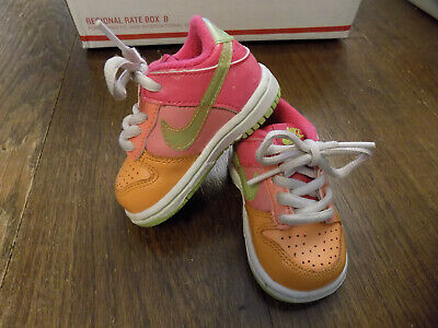 huge discount 09a21 d3856 NIKE DUNK LOW Toddlers Little Dunk Low 311533-831 Orange Pink Green EUC  Clean