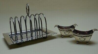 Silver Plated Walker & Hall Toast Rack tray ball feet plus pair of W&H Salts
