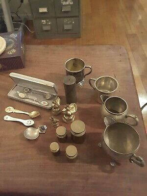 Vintage lot of collectable brass weights, ornaments, epns, spoons & other
