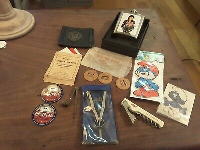 Vintage lot of collectables ephemera smurf, peters, wallet bric a brac & others