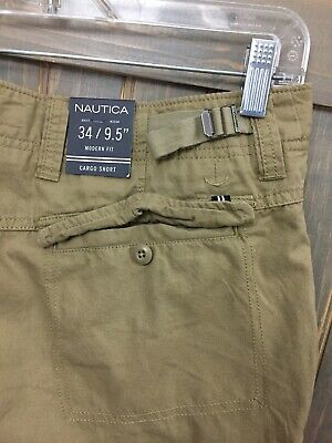 "f4effd3a27 NAUTICA Khaki Tan 34 MODERN FIT CARGO SHORTS MENS NWT NEW 9.5"" Inseam"