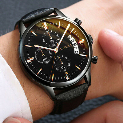top Sport Men's Stainless Steel Case Leather Band Quartz Analog Wrist Watch