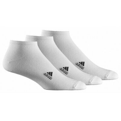 New Adidas Unisex White Sports Performance 3 Pairs No Show Thin Socks All Sizes