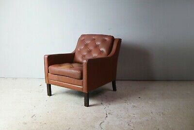 1970'S Danish Mid Century Leather Lounge Chair