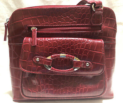 Faux Leather Croco Handbag Sophie Organizer Crossbody Messenger Coldwater Creek