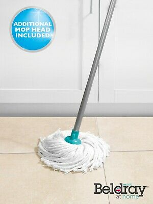 Beldray LA049773 Absorbent Round Cotton Mop with Refill, Turquoise