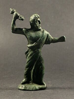 Very Rare Ancient Roman Bronze Statuette Of Zues Holding Thunderbolt Circa 100Ad