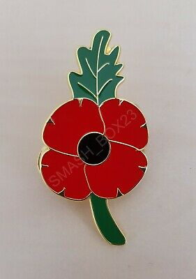 Remembrance Day 2019 Poppy Red Flower Large Branch Enamel Metal UK Pin Badge