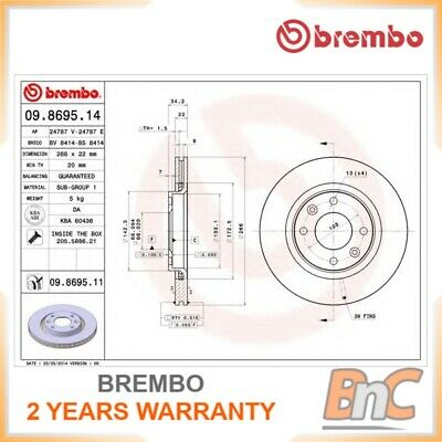 # Genuine 2X Brembo Heavy Duty Front Brake Disc Set For Peugeot Citroen