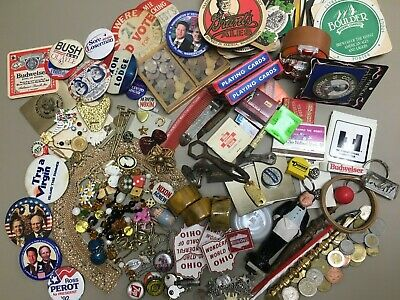 Huge Estate Junk Drawer Foreign Coin Lot Political Pins Jewelry Beer Advertising