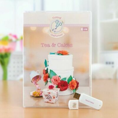 NEW & SEALED Cutting Craftorium Tea and Cakes USB including 200 Backing Papers