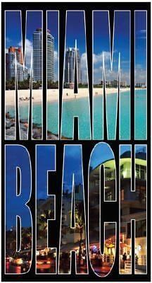 "Miami Beach Towel Stripes Turquoise Black Florida Beach Pool Souvenir 30/""x60"