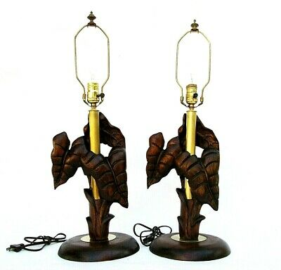Vintage Pair of Art Deco Carved Koa Wood and Brass Palm Leaf Table Lamps