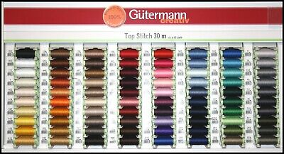 Gutermann Top Stitch Sewing Thread  -Strong For Decorative Stitches - 80 Colours