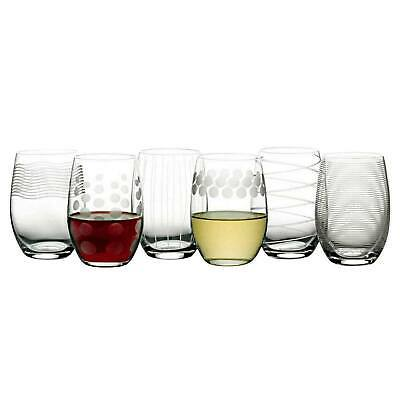 7c59569c29f Mikasa Cheers Stemless Etched Wine Glasses, Fine European Lead-Free Crystal  17oz