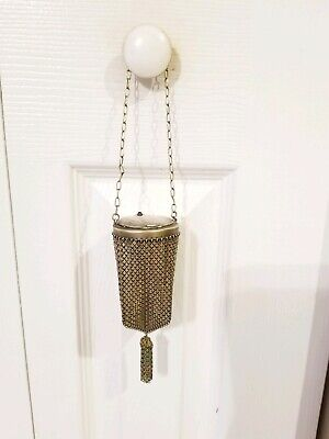 Vintage Antique Chinese Asian Copper Mesh Plated Brass Geisha Jeweled Bag Purse