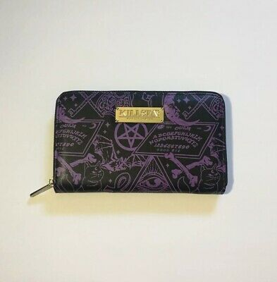 Killstar Katya Gothic Bondage Punk Buckle Vinyl Black Clutch Wallet KSRA000545