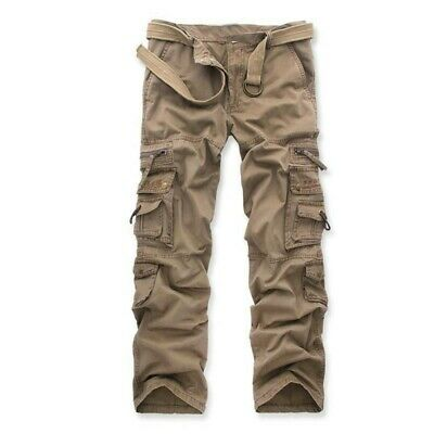 100% Cotton Men's Casual Cargo Pants Loose Trousers Outdoor Bib overalls Army