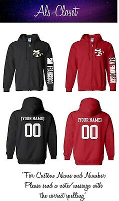 San Francisco 49ers Logo Football Zip Up Hooded Sweatshirt with Custom Name