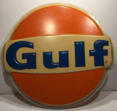 """Vintage 27"""" Gulf Oil Gas Plastic Station Advertising Sign"""