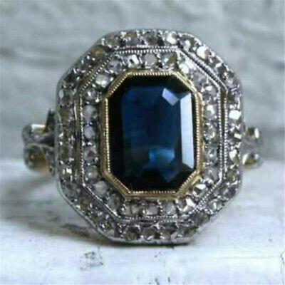 Blue & White Sapphire 925 Silver Ring Women Wedding Gift Jewelry Party Size 6-10