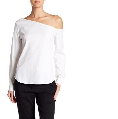 a53f971f761e2a NEW Theory Womens Ulrika White Asymmetric Off The Shoulder Blouse Medium  $235