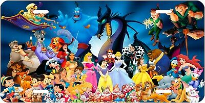 Disney Characters Novelty License Plate Beautiful Bright Colorful