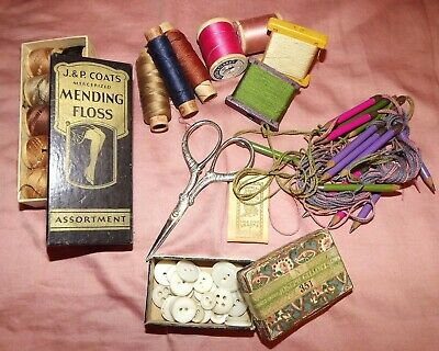 LOT VINTAGE OR ANTIQUE SEWING Scissors Thread Pencils Floss New/Used/ Old Stock