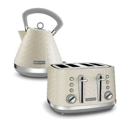 Morphy Richards Vector Kettle and Toaster 4 Slice Cream Kitchen Sale Cheap Buy