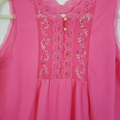 Vintage Nylon Nightie JCPenney Pink Lace Trim Embroidery Size Medium