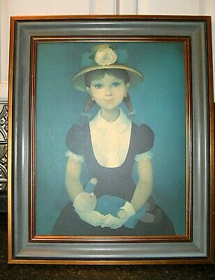 SERADOUR Vintage PORTRAIT French Painting PRINT Framed SIGNED ART Beautiful GIRL