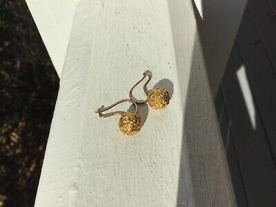 Antique Victorian 14k Yellow Gold Etruscan Ball Dangle Earrings