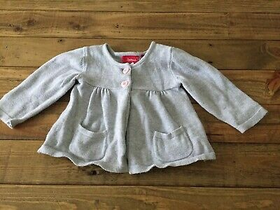 Sprout Baby Girl Grey Knitted Cardigan with Pink Heart Buttons Size 00