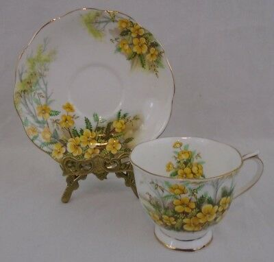 Vintage Royal Albert 1950s Partridge Pea Bone China Tea Cup and Saucer