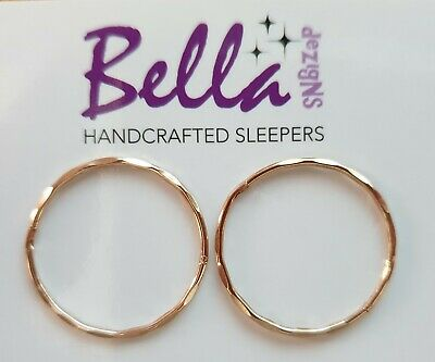 22mm (JUMBO) RoseGoldPlated on Solid Sterling Silver Sleepers FACET/PLAIN