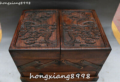 """11""""Chinese Huanghuali Wood Carving Dragon Dragons Beast Casket Jewelry Box Boxes"""