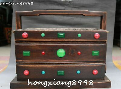 "15"" Old Chinese Huanghuali Wood Gem Word Text Propitious Cloud Hamper Box Boxes"