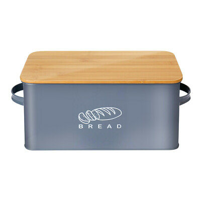 Bread Box Retro Stainless Steel Storage Container Space Saving Box & Bamboo Lid