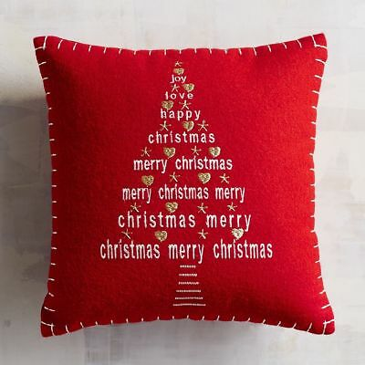 """RED EMBROIDERED THROW PILLOW, NEW, 12"""" x 12"""", PIER 1, MERRY CHRISTMAS TREE, JOY"""
