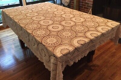 Vintage Ecru Lace Tablecloth Crochet Embroidered Cotton Dining Bedspread 88x66""