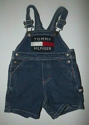 534e7698 Vintage 90s Tommy Hilfiger Baby Overalls Denim Shorts Spellout (Size 3-6  months)