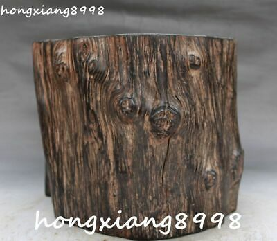"8"" Old Chinese Ancient Huanghuali Wood Hand Carving Brush Pot pencil Holder Vase"