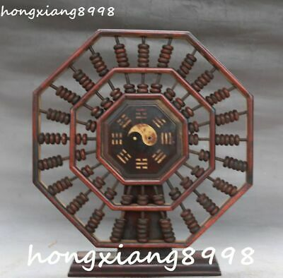 """9"""" Old China Huanghuali Wood Eight Diagrams Pattern Abacus Counting Frame Statue"""
